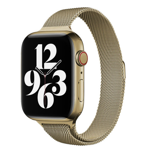 Gold Apple Watch (42mm, 44mm) Slim Milanese Loop Magnetic Band / Strap - 1