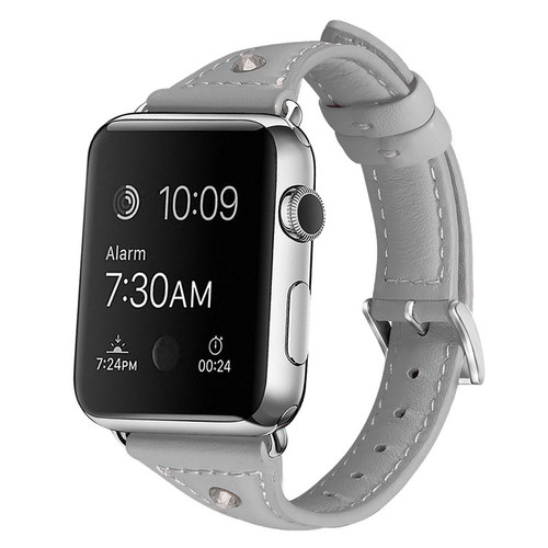 Grey Slim Wrist Genuine Leather Band For Apple Watch 38mm/ 40mm Series 1/2/3/4/5/6/SE - 1