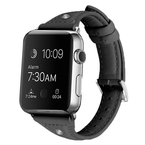 Black Apple Watch 42mm/ 44mm Small Slim Wrist Genuine Leather Band Strap - 1