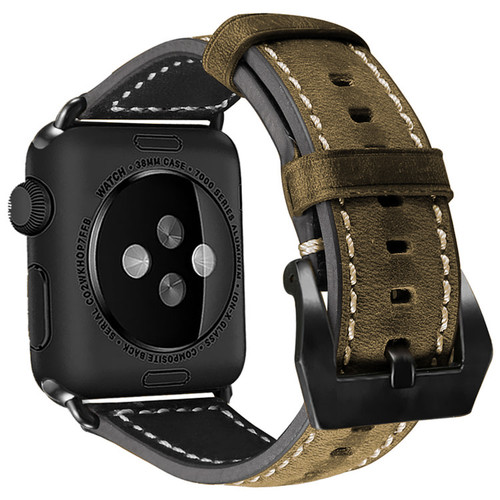 Tarmac Vintage Retro Genuine Leather Band For Apple Watch 42mm/44mm Series 1/2/3/4/5/6/SE - 1