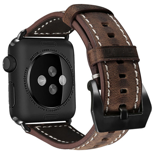 Brown Apple Watch 42mm/44mm Vintage Retro Genuine Leather Band For Series 1/2/3/4/5/6/SE - 1
