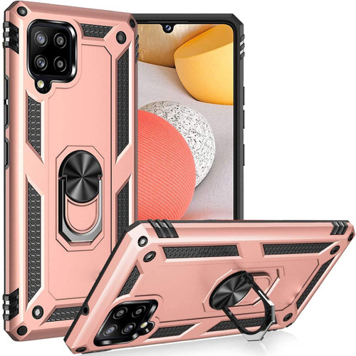 Rose Gold Galaxy A42 5G Slim Armor 360 Rotating Metal Ring Stand Case - 1