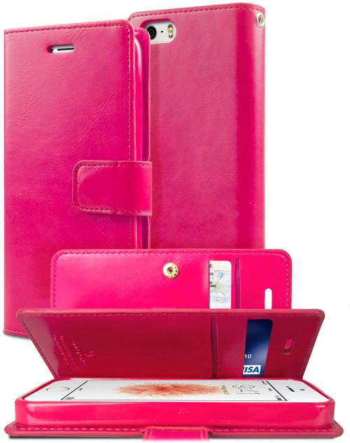 Hot Pink Genuine Mercury Mansoor Wallet Case For iPhone 5 / 5S / SE 1st Gen - 1