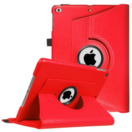 Red Apple iPad 2 / 3 / 4 360 Degree Rotating Synthetic Leather Case - 1