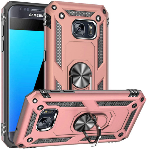 Rose Gold Galaxy S7 Shock Proof 360 Degree Rotating Metal Ring Case - 1