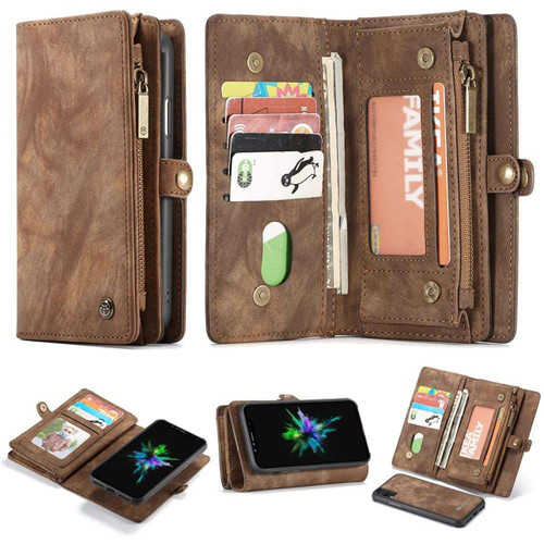 Retro Brown 2 in 1 Wallet Detachable Shock Proof  Case For iPhone 7 / 8 - 1