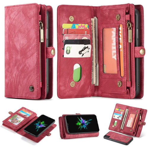 Red Multi-Functional Wallet Detachable Magnetic Case For iPhone 7 / 8 - 1