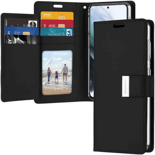 Black Genuine Mercury Rich Diary Wallet Case For Galaxy S21 - 1