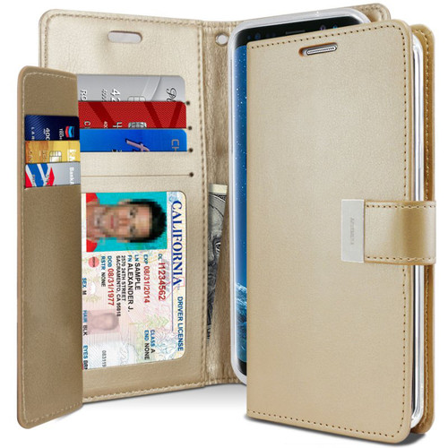 Shiny Gold Genuine Mercury Rich Diary Wallet Case For Galaxy S21 - 1