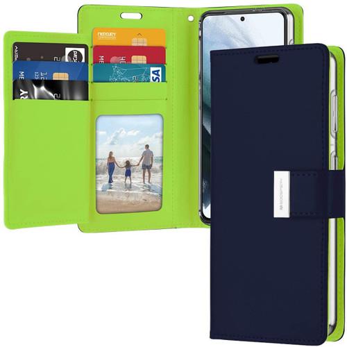 Navy Galaxy S21 Genuine Mercury Rich Diary 6 Card Slot Wallet Case - 1