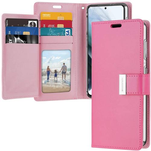 Stylish Hot Pink Galaxy S21 Genuine Mercury Rich Diary Wallet Case - 1