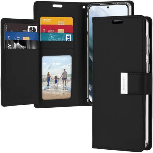 Black Galaxy S21+ Plus Genuine Mercury Rich Diary Wallet Case Cover - 1