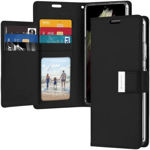 Black Genuine Mercury Rich Diary Wallet Case For Galaxy S21 Ultra - 1