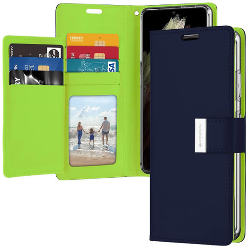 Navy Genuine Mercury Rich Diary Wallet Case For Galaxy S21 Ultra - 1