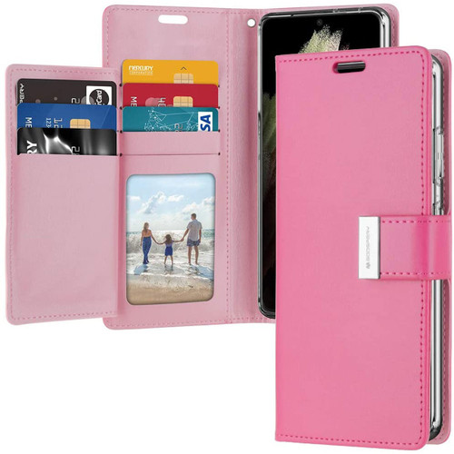 Hot Pink Genuine Mercury Rich Diary Wallet Case For Galaxy S21 Ultra - 1