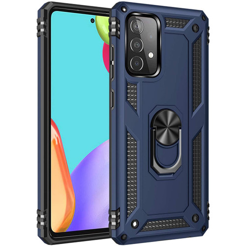 Navy Shock Proof 360 Rotating Metal Ring Kickstand Case For Galaxy A52 - 1
