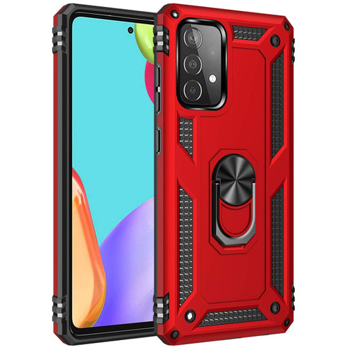 Red Slim Armor 360 Rotating Metal Ring Kickstand Case For Galaxy A52 - 1