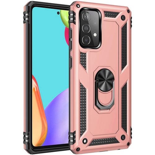 Rose Gold Galaxy A52 Shock Proof 360 Rotating Metal Ring Stand Case - 1