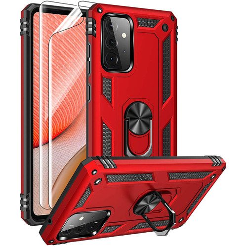 Red Shock Proof 360 Rotating Metal Ring Kickstand Case For Galaxy A72  - 1