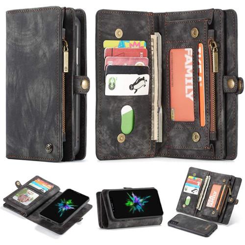 Black iPhone 6 / 6S Multi-functional Wallet Zipper Purse Magnetic Case - 1