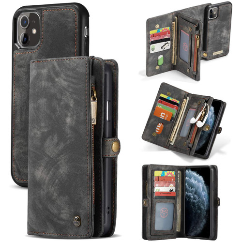 Black 2 in 1 Retro Zipper Wallet Magnetic Case for iPhone 11 Pro Max - 1