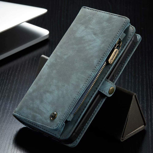 Blue iPhone 12 / 12 Pro Multi-functional 2 in 1 Wallet / Purse Magnetic Case - 1