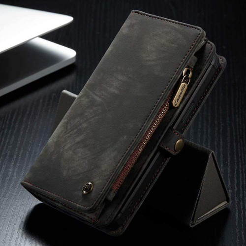 Black 2 in 1 Retro Wallet Removable Magnetic Case for iPhone 12 Pro Max - 1