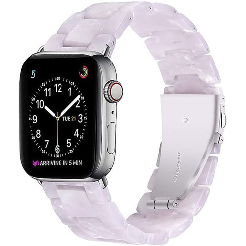Shinning White Marble Resin Band For Apple Watch 1/2/3/4/5/6/SE (42mm / 44mm) - 1
