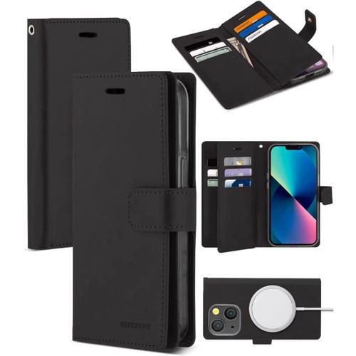Black iPhone 13 Pro Max Mercury Mansoor 9 Card Slot Wallet Case  - 1