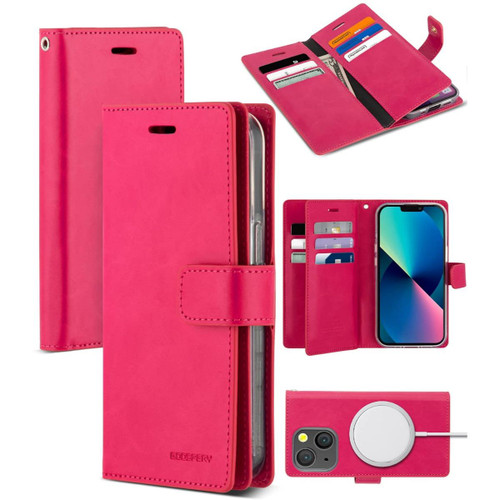 Hot Pink Genuine Mercury Mansoor Diary Wallet Case  For iPhone 13 Pro Max  - 1