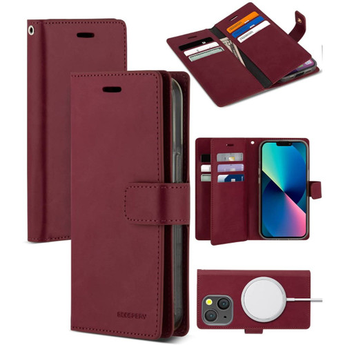 Wine Mercury Mansoor Diary Card Holder Wallet For iPhone 13 Mini  - 1