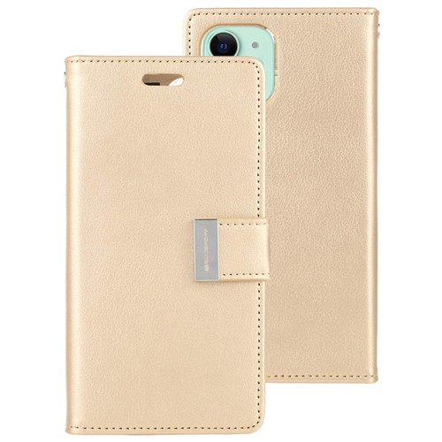 Gold iPhone 13 Rich Diary 6 Card Slot Wallet Case  - 1