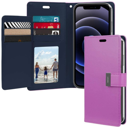 Purple iPhone 13 Pro Max Mercury Rich Diary Card Holder Wallet - 1