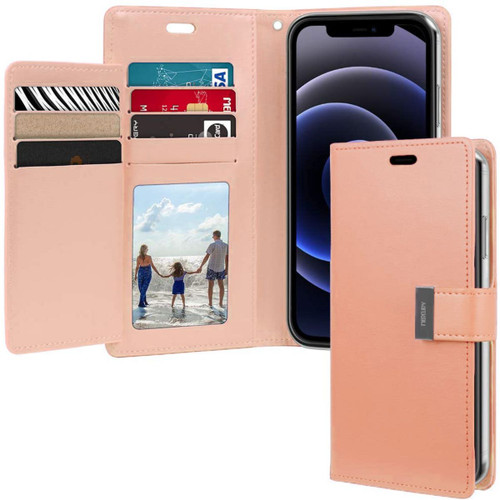 Rose Gold iPhone 13 Pro Max Rich Diary 6 Card Slot Wallet Case  - 1