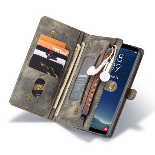 Black Galaxy S8 Plus Multi-Functional 2 in 1 Zipper Purse Wallet Case - 1