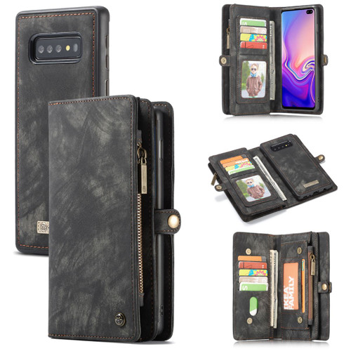 Black Galaxy S10+ Plus Multi-functional 2 in 1 Purse Wallet Magnetic Case - 1