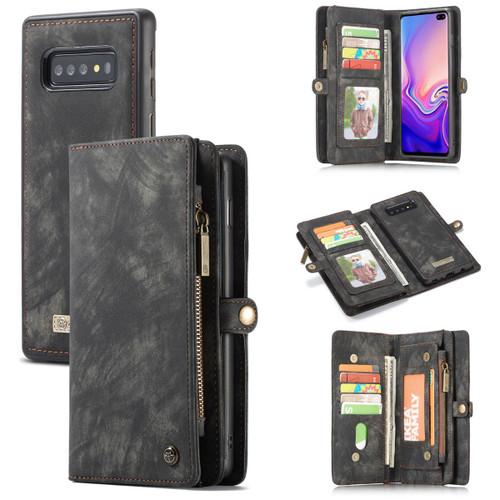 Black  2 in 1 Retro Zipper Wallet Magnetic Case For Galaxy S10 5G  - 1