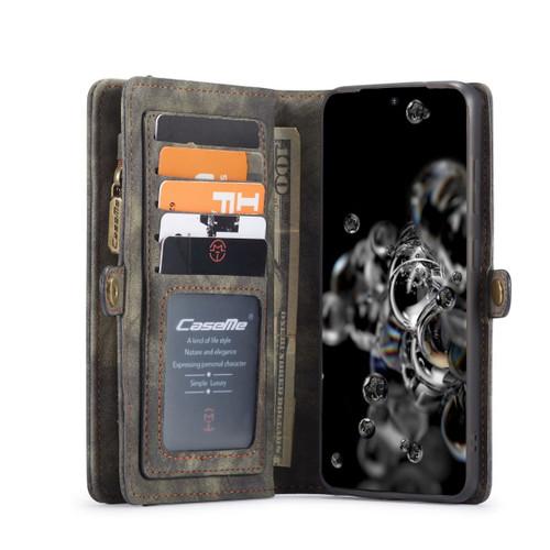 Black  2 in 1 Retro Zipper Wallet Magnetic Case For Galaxy S20 Plus  - 1