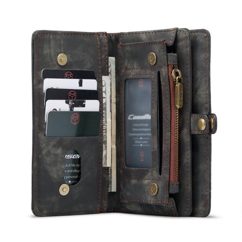 Black Galaxy S21 Wallet Zipper Purse Removeable Magnetic Case - 1