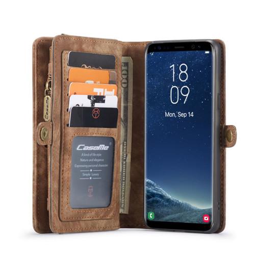 Brown Galaxy S8 Plus 2 in 1 Multi-Functional Wallet  Shock Proof  Case  - 1