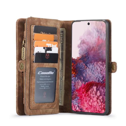 Brown Galaxy S20 Multi-Functional 2 in 1 Zipper Purse Wallet Case - 1