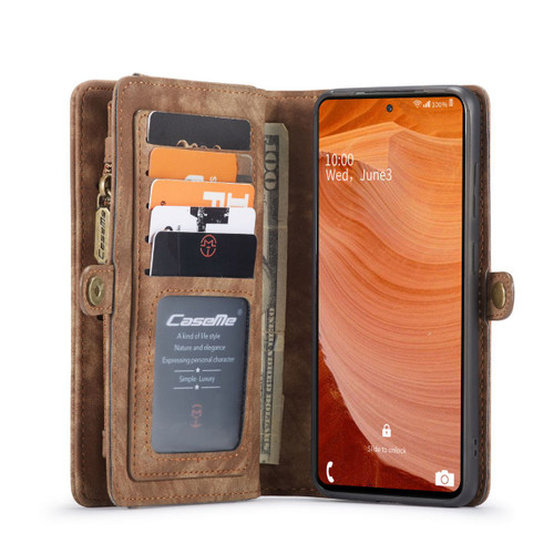 Brown Galaxy S20 FE Wallet Zipper Purse Removeable Magnetic Case - 1