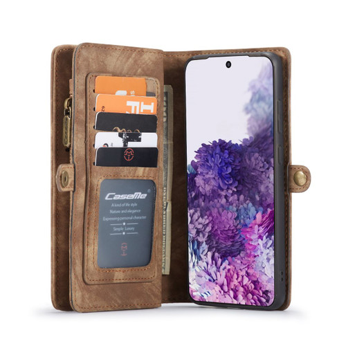 Brown Galaxy S20 Ultra Multi-Functional  Wallet Detachable Magnetic Case - 1