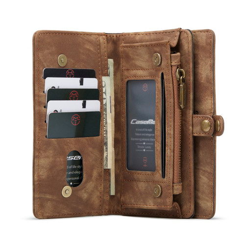 Brown Galaxy S21 Ultra  2 in 1 Retro Zipper Wallet Magnetic Case - 1