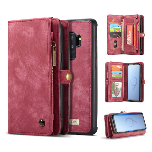 Red Galaxy S9 Plus Wallet Zipper Purse Removeable Magnetic Case - 1