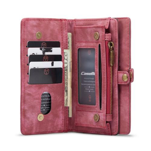 Red Galaxy S21 Ultra  2 in 1 Retro Zipper Wallet Magnetic Case - 1