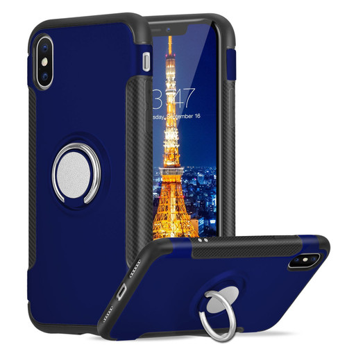 Navy iPhone XS Max Metal 360 Degree Ring Shock Proof Case - 1