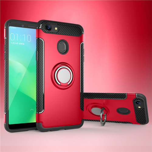 Red Oppo A73 / F5 Metal Circle 360 Degree Ring Shock Proof Case