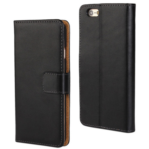 Black Genuine Leather Wallet Case for Apple iPhone 6 / 6S Mobile Phone Cover - 1