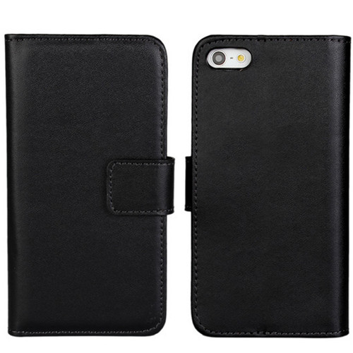 Black Genuine Leather Wallet Case for Apple iPhone 5 5S SE Cover - 1
